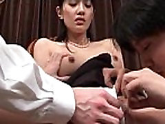 Pink shaved Japanese snatch licked and tickled in group sex