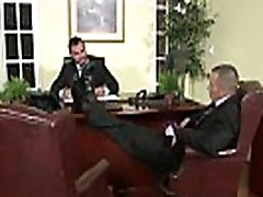 Gay office hunk getting throatfucked by his boss