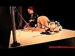 Lezdom mistress restrains her sub slave