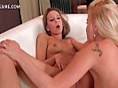 Lesbian hotties kissing and fingering starving pussy