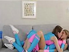Teen cheerleaders gets horny and they fondle each others pussy