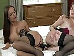 Lesbians in lingerie fucking double toy