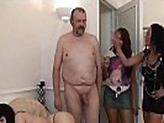 Clothed femdoms handjob cumshot