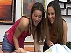 Two younger teens double blowjob