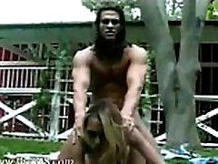 Strong man anus banging asian in garden