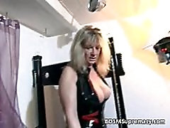 Blonde mature mistress plays with her