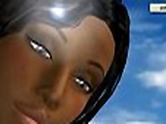 3D cartoon ebony honey takes her clothes off