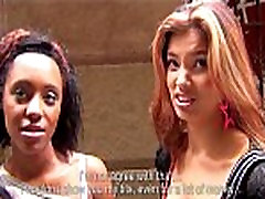 Sexy Asian babe &amp her HOT Ebony roommate are paid for a threesome