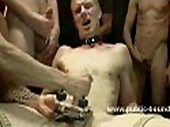 Submissve gay boy knelt down bound