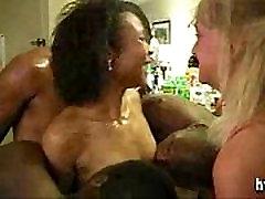 White Mature and Ebony Milf Interracial Gangbang