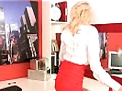 Horny hot young blonde intern rubs her wet pussy at the office