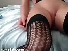Sexy girlfriend with puffy pussy masturbates