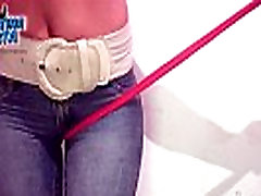 Amazing Round Ass in Tight Jeans. Round Tits &amp Cameltoe