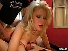 Blonde babe gets anal fucking while she gives sucking and tits fucking