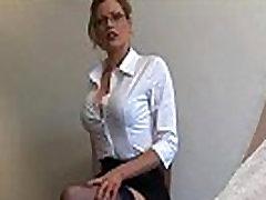 Secretary type gives a harsh handjob