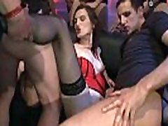 Slut gagging cock at bukkake orgy