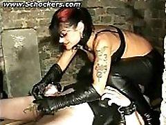 Mistress electro shocks balls and uses neetles on cock while slave mastrubates bdsm