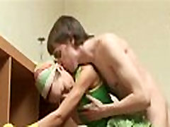 Skinny twink riding monster cock
