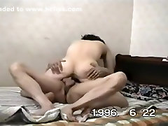 Mature asian couple homemade sextape from 1996