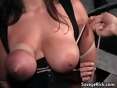Cute brunette babe Nikki tests her pain part1