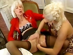 Horny granny sucking young cock like a blowjob pro