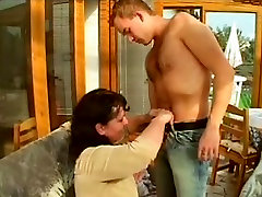 Young cock fucking chubby mature in her hairy wet cunt
