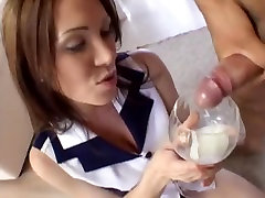 Wicked angel drinks a lot of cum from a cocktail class