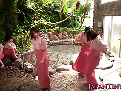 Femdom japanese babes groupfuck dude in bathhouse