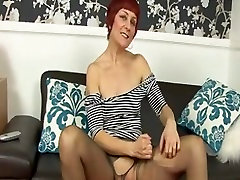 mature woman fingering panty hose