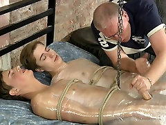 BDSM foiled twinks helping hands jerk and cum