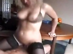Mature in Stockings and Two Cocks