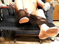 Black sheer pantys, ff tan stockings and ... yep ...CUM.