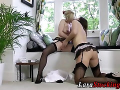 Stockings milf and babe suck