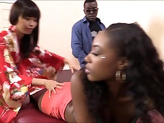 Masseuse Marica Hase licks ebony pussy and analed by black cock