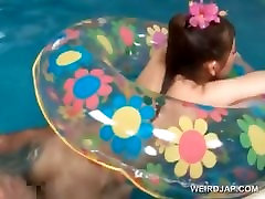 Naked asian doll gets cunt fucked underwater in pool