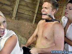 CFNM curly milf white demand doggystyle in barn