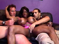 Big black ebony double blowjow