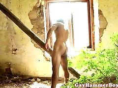 Outdoor barebacking twink sucking cock