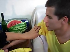 Youn Boy spays all on Mature Tits