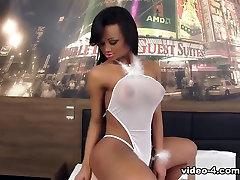 Andrezza Lyra in Beautiful Ebony Shemale Fucks Her Mans Ass Bareback - DreamTranny
