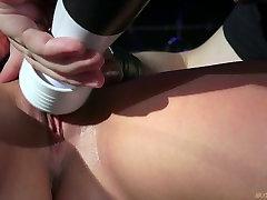 Daring blonde girl bondaged and finger fucked in BDSM clip