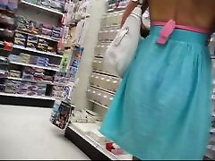 Fit bitch in pink panties shopping in a candid upskirt video