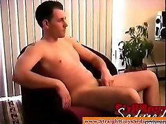 Horny straight dude wanking off by horny gay dude
