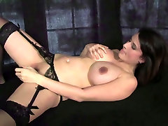 Sexy Arizona touches her natural breasts wearing black lingerie