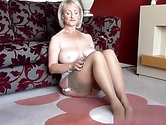 Golden-Haired Large Titty Older Solo Masturbation