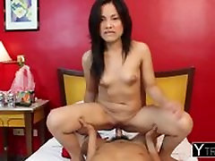 Frisky Asian Girl Angel Drops Red Dress And Hops ON Thick Cock