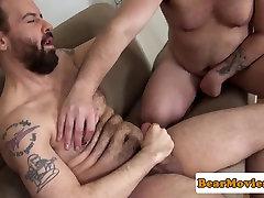 Inked bear assfucking chub before cum