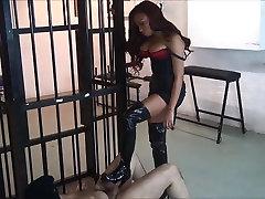 Very Hot model mistress ballbusting lucky slave