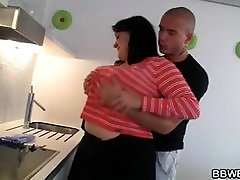 Cooking BBW getting naked and fucked