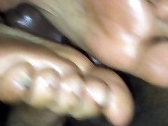 Hot ebony footjob